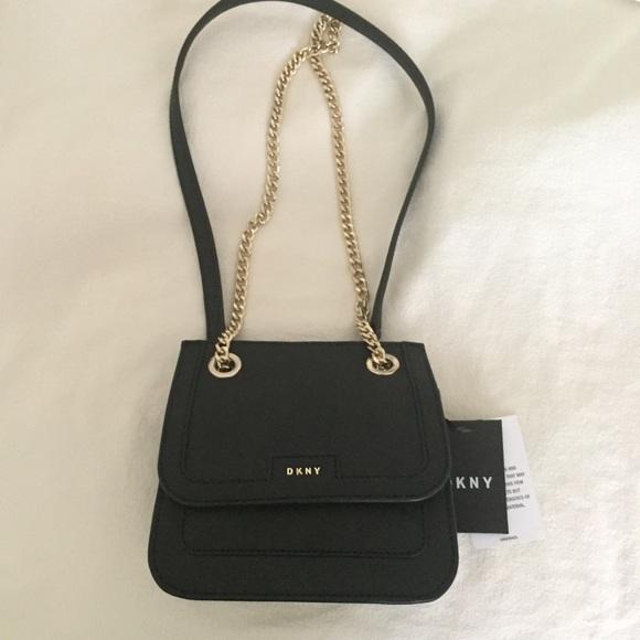 DKNY black saffiano mini flap crossbody bag NWT 54d3f1ffe7b36